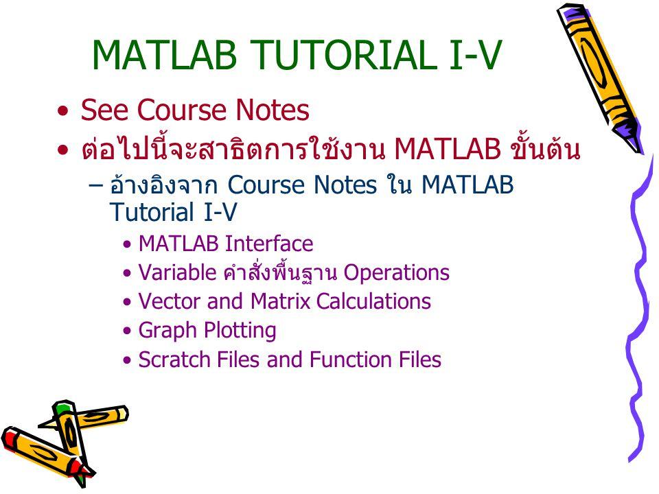 MATLAB TUTORIAL I-V See Course Notes ต่อไปนี้จะสาธิตการใช้งาน MATLAB ขั้นต้น –อ้างอิงจาก Course Notes ใน MATLAB Tutorial I-V MATLAB Interface Variable