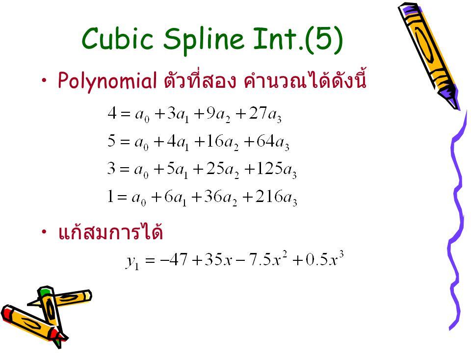 Cubic Spline Int.(5) Polynomial ตัวที่สอง คำนวณได้ดังนี้ แก้สมการได้