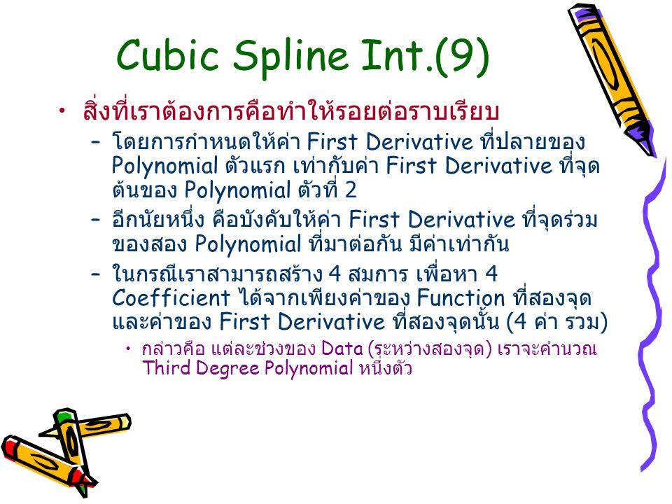 Cubic Spline Int.(9) สิ่งที่เราต้องการคือทำให้รอยต่อราบเรียบ – โดยการกำหนดให้ค่า First Derivative ที่ปลายของ Polynomial ตัวแรก เท่ากับค่า First Deriva