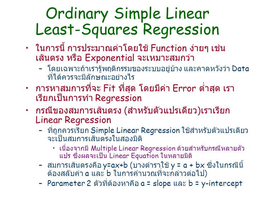 Ordinary Simple Linear Least-Squares Regression ในการนี้ การประมาณค่าโดยใช้ Function ง่ายๆ เช่น เส้นตรง หรือ Exponential จะเหมาะสมกว่า – โดยเฉพาะถ้าเร