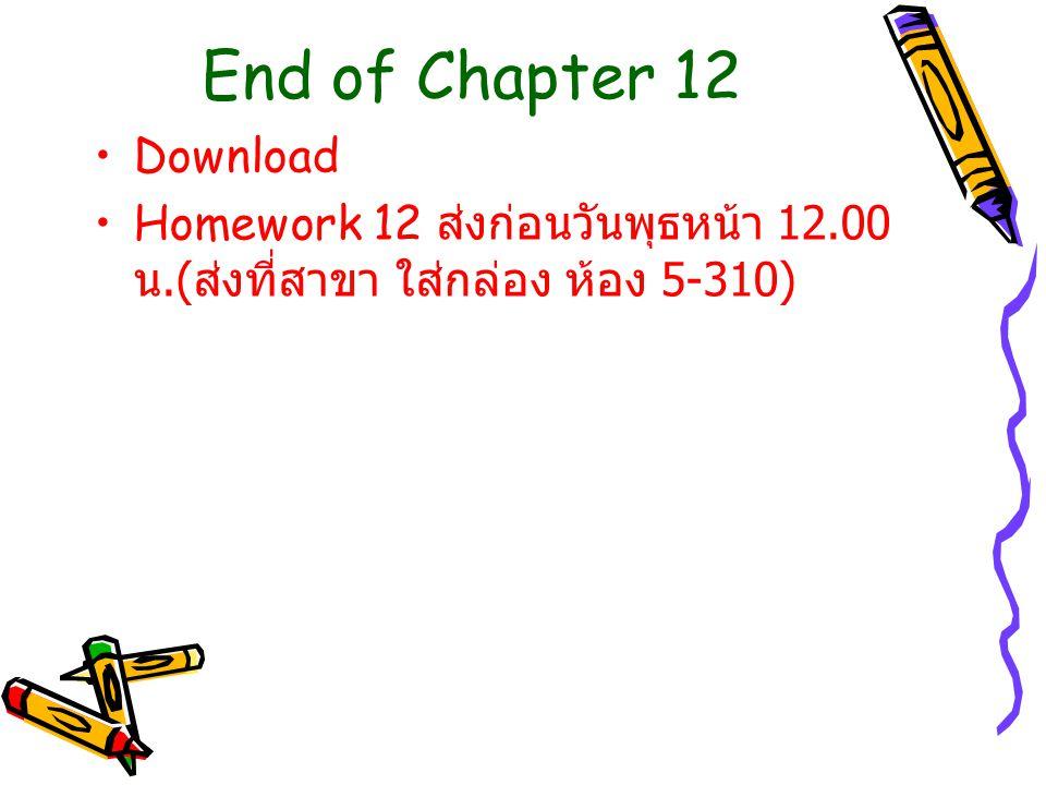 End of Chapter 12 Download Homework 12 ส่งก่อนวันพุธหน้า 12.00 น.( ส่งที่สาขา ใส่กล่อง ห้อง 5-310)
