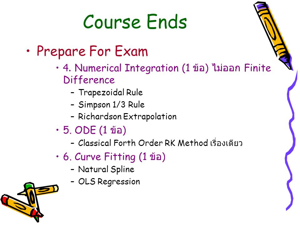 Course Ends Prepare For Exam 4.