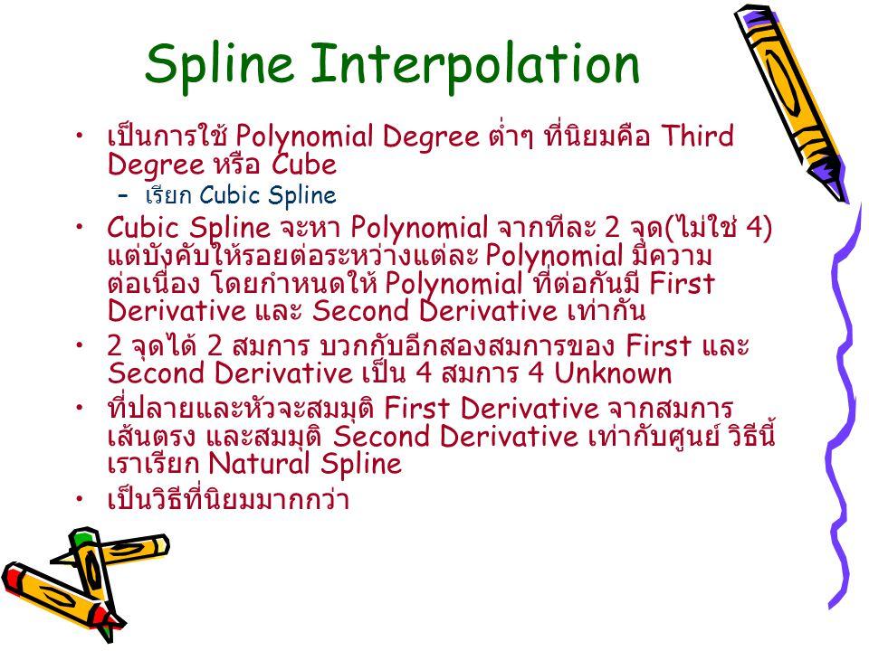 Spline Interpolation เป็นการใช้ Polynomial Degree ต่ำๆ ที่นิยมคือ Third Degree หรือ Cube – เรียก Cubic Spline Cubic Spline จะหา Polynomial จากทีละ 2 จ