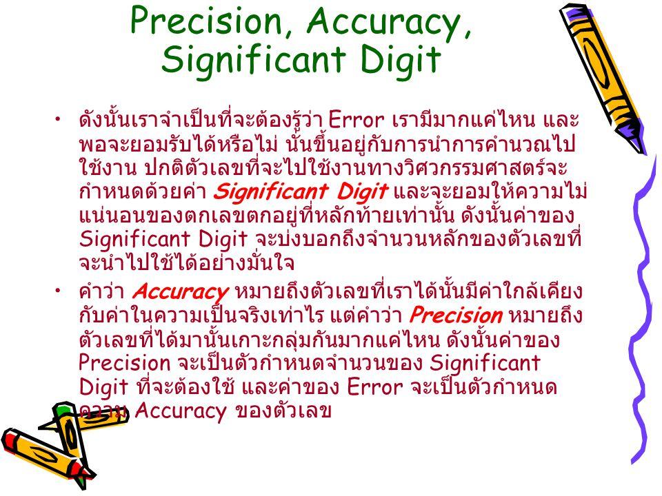 Precision, Accuracy, Significant Digit ดังนั้นเราจำเป็นที่จะต้องรู้ว่า Error เรามีมากแค่ไหน และ พอจะยอมรับได้หรือไม่ นั่นขึ้นอยู่กับการนำการคำนวณไป ใช