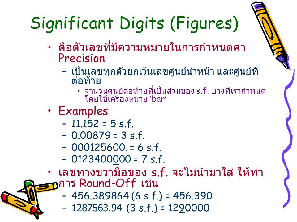 Significant Digits (Figures) คือตัวเลขที่มีความหมายในการกำหนดค่า Precision – เป็นเลขทุกตัวยกเว้นเลขศูนย์นำหน้า และศูนย์ที่ ต่อท้าย จำนวนศูนย์ต่อท้ายที่เป็นส่วนของ s.f.