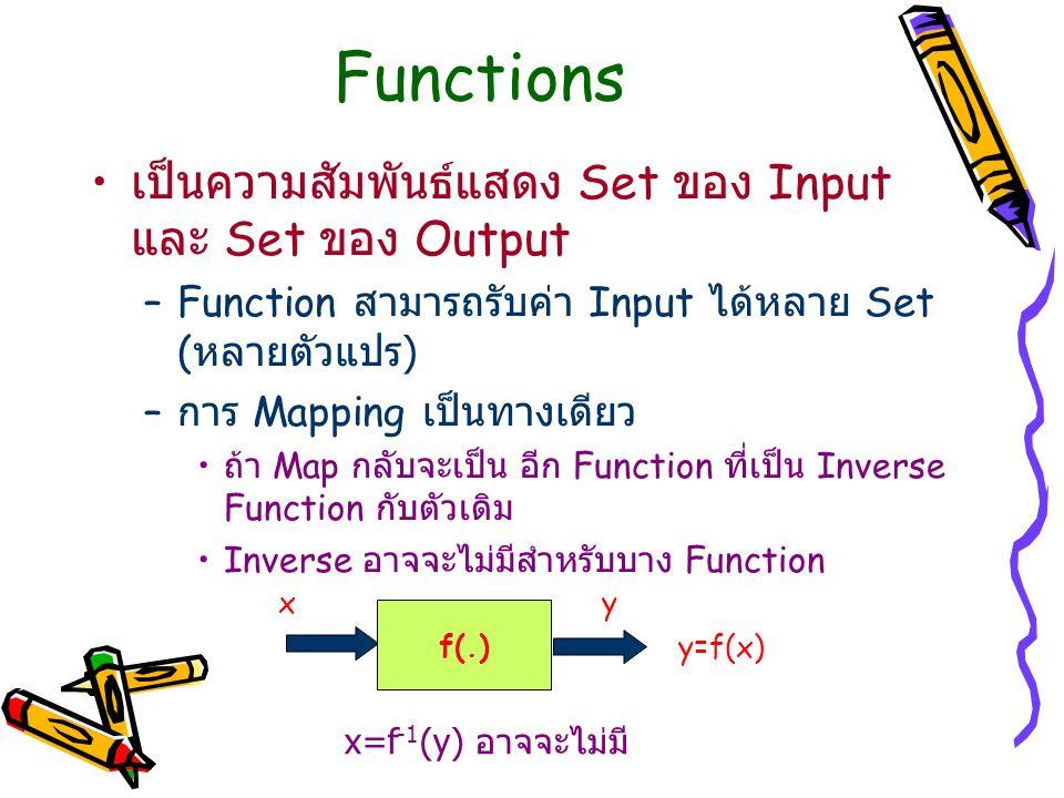 Functions เป็นความสัมพันธ์แสดง Set ของ Input และ Set ของ Output –Function สามารถรับค่า Input ได้หลาย Set ( หลายตัวแปร ) – การ Mapping เป็นทางเดียว ถ้า Map กลับจะเป็น อีก Function ที่เป็น Inverse Function กับตัวเดิม Inverse อาจจะไม่มีสำหรับบาง Function f(.) x y y=f(x) x=f -1 (y) อาจจะไม่มี