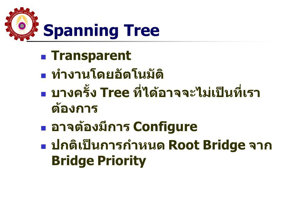 Steps 1: Root Bridge Selection เลือก Root Bridge โดยทุก Switch ส่ง BPDU ออกทุก Port และใส่ค่า Bridge ID Bridge ID = Bridge Priority(2 Octet) + MAC Address(6 Octet) Switch ที่มี Bridge ID ต่ำสุดจะเป็น Root Default Bridge Priority = 32768 ถ้าไม่มีการ Configure ดังนั้น Switch ที่ มี MAC Address ต่ำสุดจะได้รับเลือก