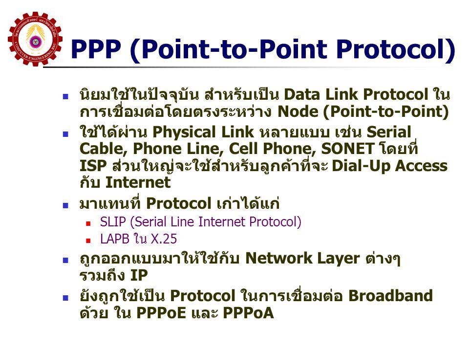 PPP (Point-to-Point Protocol) นิยมใช้ในปัจจุบัน สำหรับเป็น Data Link Protocol ใน การเชื่อมต่อโดยตรงระหว่าง Node (Point-to-Point) ใช้ได้ผ่าน Physical L
