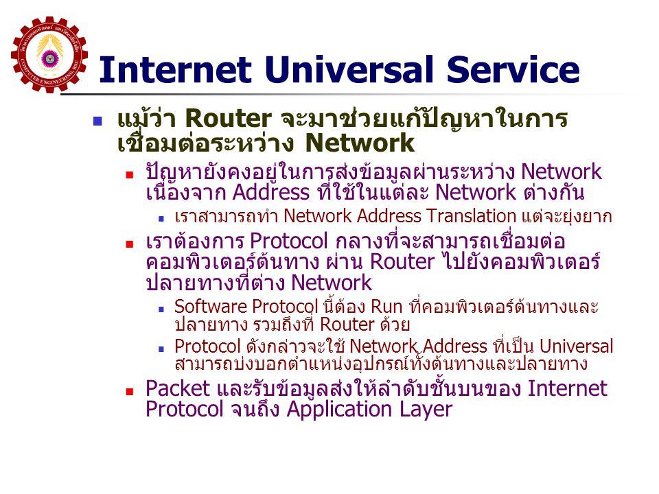 Internet Universal Service แม้ว่า Router จะมาช่วยแก้ปัญหาในการเชื่อมต่อ ระหว่าง Network การทำงาน ที่ PC ต้นทาง จะ Run Internet Protocol ที่กล่าว จากนั้นเมื่อส่งข้อมูล ผ่าน Network1 จะส่ง Packet ของ Protocol นั้น ผ่าน Network Protocol ที่มันเชื่อมต่ออยู่ไปยัง Router (บางทีเราเรียกว่าเป็นการทำ Tunneling) ที่ Router เมื่อได้รับ Packet จะปลอก Network Protocol ที่เชื่อมต่อ ออก จนเหลือ Internet Protocol จากนั้นจะใช้ Address ของ Internet Protocol ทำการหาเส้นทางเพื่อส่งข้อมูลต่อออกไปยัง Interface ที่ ถูกต้อง ซึ่งจะ Run Network Protocol ที่อาจจะแตกต่างกัน ดังนั้นมัน จะจับ Internet Packet ใส่ลงใน Protocol ของ Interface ที่เชื่อมต่อ นั้นส่งออกไป ข้อมูลอาจจะต้องส่งผ่านหลาย Network และหลาย Router แต่ละช่วง เรียกว่า Hop จะมีการปลอก Packet จนถึง Internet Protocol และ ประกอบด้วย Protocol ใหม่ตาม Interface ขาออกที่ต้องส่งออกไป เมื่อข้อมูลถึงคอมพิวเตอร์ปลายทาง คอมพิวเตอร์ปลายทางจะปลอก Packet จนถึง Internet Protocol จากนั้นจะตรวจสอบ Internet Packet และรับข้อมูลส่งให้ลำดับชั้นบนของ Internet Protocl จนถึง Application Layer