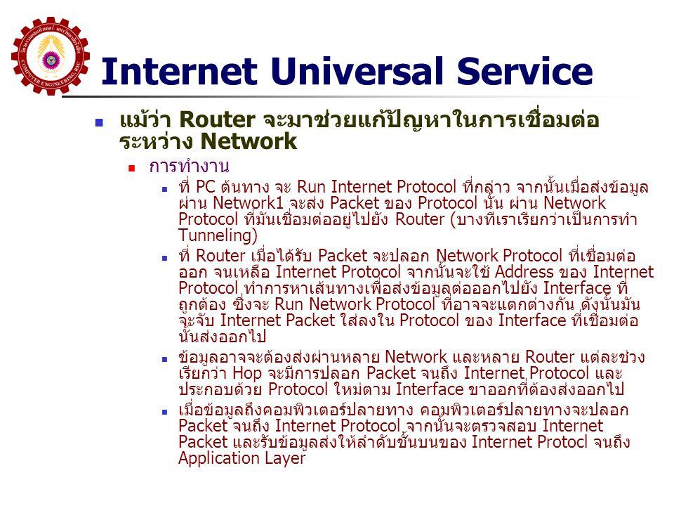 Internet Universal Service แม้ว่า Router จะมาช่วยแก้ปัญหาในการเชื่อมต่อ ระหว่าง Network การทำงาน ที่ PC ต้นทาง จะ Run Internet Protocol ที่กล่าว จากนั