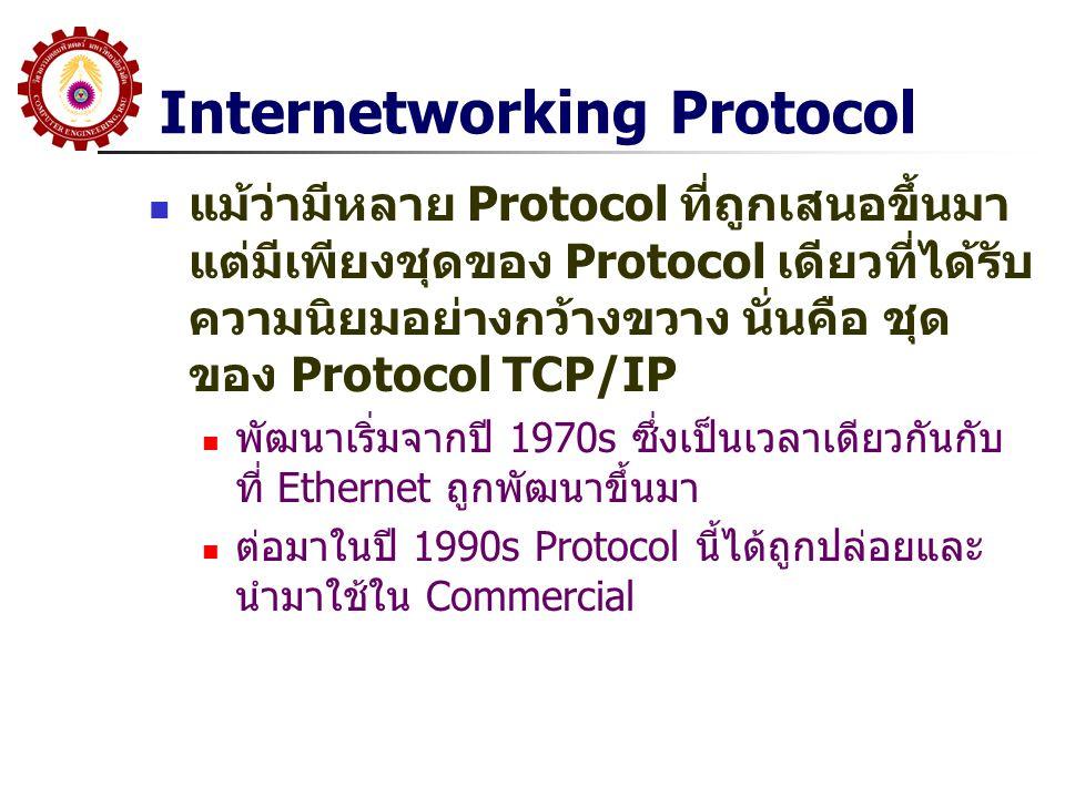 TCP/IP Protocol Stack ที่สำคัญคือ Layer 3: Internet Protocol(IP) ทำหน้าที่กำหนดรูปแบบ ของ Packet ที่จะส่งผ่านตลอดทั้ง Network โดยที่ส่วน Address ของ Layer นี้ (IP Address) จะถูกใช้โดย Router เพื่อที่จะทำการส่งข้อมูลผ่าน Router ที่เชื่อมต่อกัน จนกระทั่งถึง เครื่อง (Host) ปลายทาง ดังนั้น Protocol นี้จะต้องถูก Run ใน Router ทุกตัว รวมทั้ง Host Layer 4: Transport Layer (Host-to- Host) ที่สำคัญคือ TCP จะถูกใช้ เพื่อที่จะให้แน่ใจว่าข้อมูลที่ส่งจากต้น ทาง(Host) ไปถึงปลายทาง (Host) ได้ อย่างถูกต้อง ซึ่ง Protocol นี้จะถูก Run ที่ Host ต้นทางและปลายทาง เท่านั้น