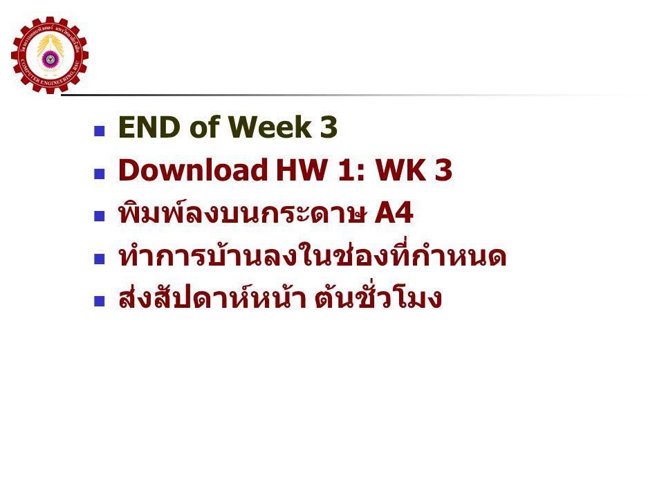 END of Week 3 Download HW 1: WK 3 พิมพ์ลงบนกระดาษ A4 ทำการบ้านลงในช่องที่กำหนด ส่งสัปดาห์หน้า ต้นชั่วโมง