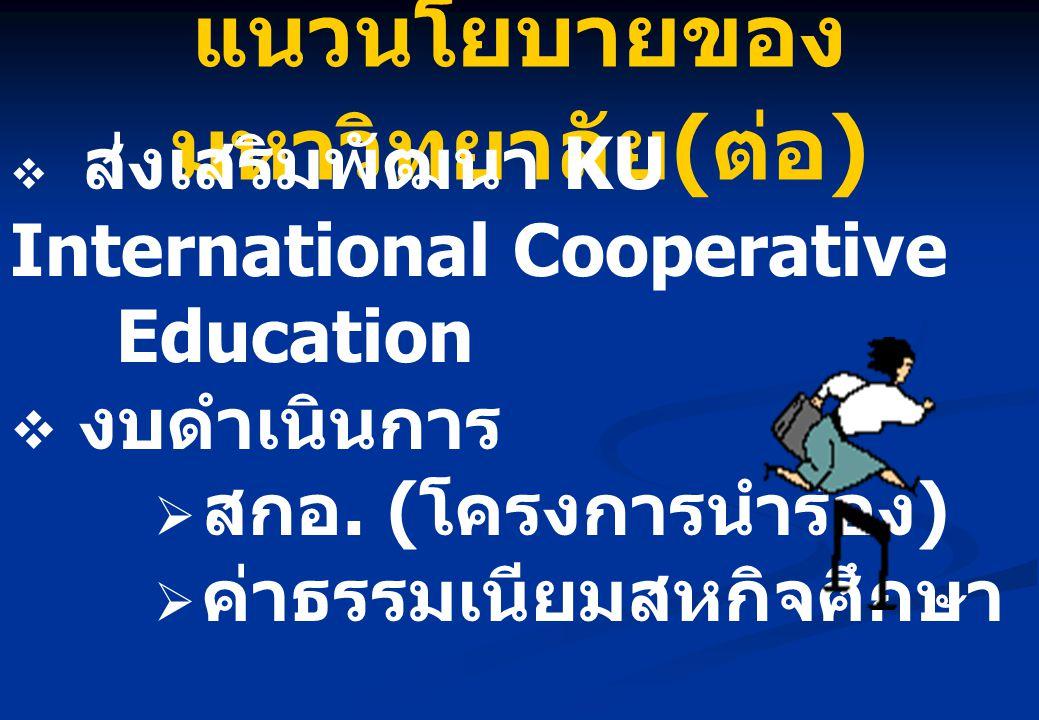 แนวนโยบายของ มหาวิทยาลัย ( ต่อ )  ส่งเสริมพัฒนา KU International Cooperative Education  งบดำเนินการ  สกอ. ( โครงการนำร่อง )  ค่าธรรมเนียมสหกิจศึกษ