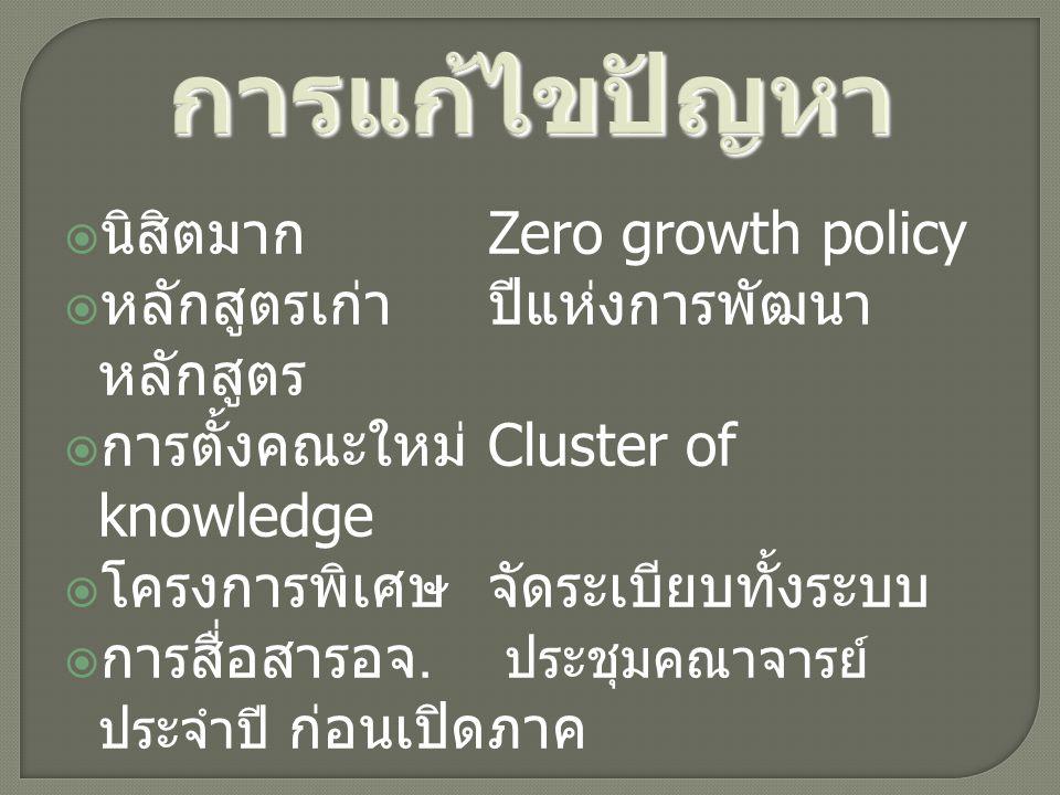 การแก้ไขปัญหา  นิสิตมาก Zero growth policy  หลักสูตรเก่าปีแห่งการพัฒนา หลักสูตร  การตั้งคณะใหม่ Cluster of knowledge  โครงการพิเศษจัดระเบียบทั้งระ