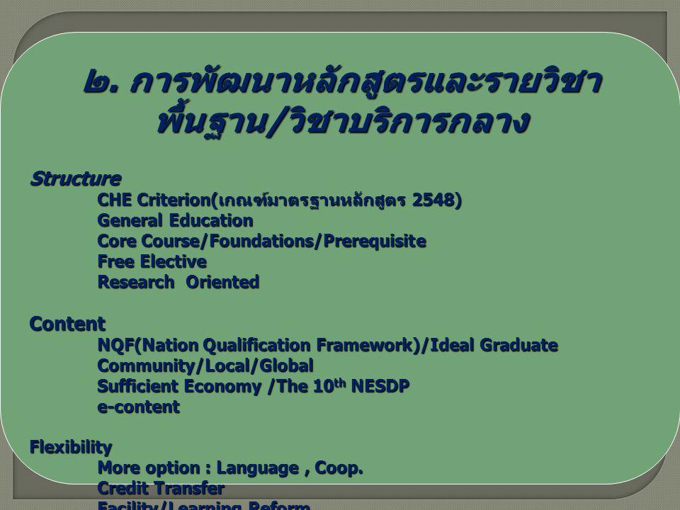 ๒. การพัฒนาหลักสูตรและรายวิชา พื้นฐาน / วิชาบริการกลาง Structure CHE Criterion( เกณฑ์มาตรฐานหลักสูตร 2548) General Education Core Course/Foundations/P
