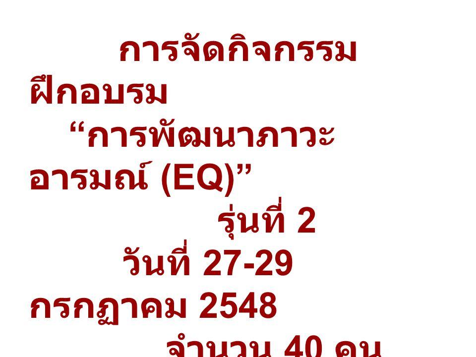 การจัดกิจกรรม ฝึกอบรม การพัฒนาภาวะ อารมณ์ (EQ) รุ่นที่ 2 วันที่ 27-29 กรกฏาคม 2548 จำนวน 40 คน ณ มหาวิทยาลัยราชภัฏ สวนดุสิต
