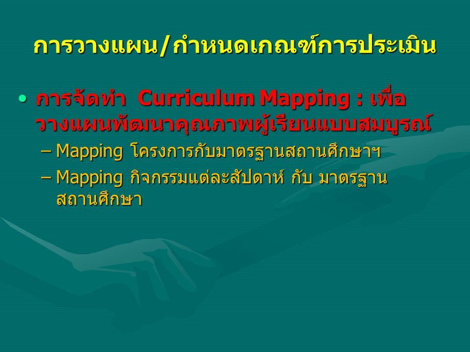 การวางแผน/กำหนดเกณฑ์การประเมิน การจัดทำ Curriculum Mapping : เพื่อ วางแผนพัฒนาคุณภาพผู้เรียนแบบสมบูรณ์การจัดทำ Curriculum Mapping : เพื่อ วางแผนพัฒนาค