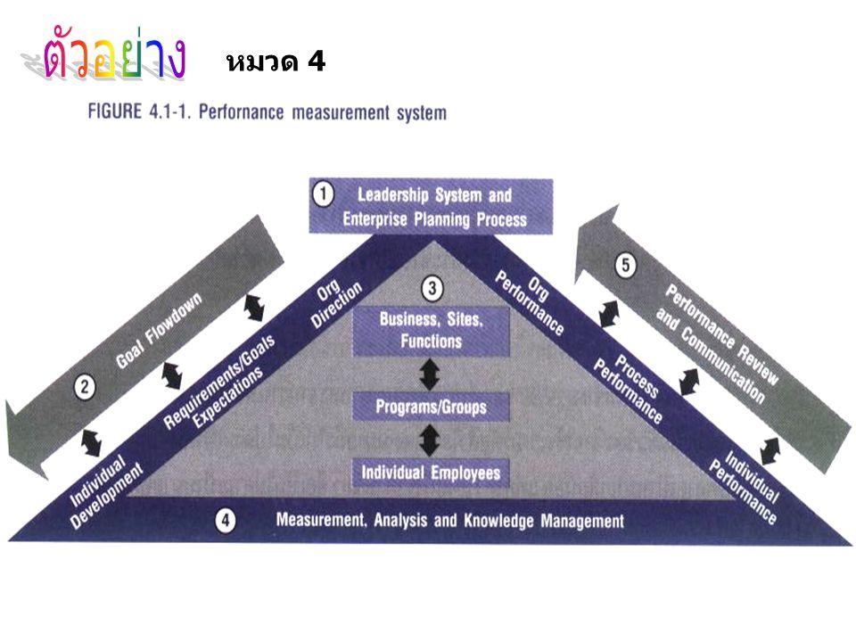 ขั้นตอนที่ 1 Leadership System and Enterprise Planning Process เป็นขั้นตอนการวางแผนและกำหนดเป้าหมายระดับองค์กร ขั้นตอนที่ 2 Goal Flowdown เป็นขั้นตอนการสื่อสารและถ่ายทอด เป้าหมาย และทิศทางองค์กรสู่หน่วยงานทุกฝ่ายทุกระดับ ขั้นตอนที่ 3 AS Organization เป็นขั้นตอนการกำหนดตัวชี้วัดและ เป้าหมายในหน่วยงานทุกฝ่ายทุกระดับทั่วทั้งองค์กร รวมทั้งจัดทำแผนงาน และ performance and development รายบุคคล ขั้นตอนที่ 4 Measurement, Analysis and Knowledge เป็น ขั้นตอนการวัด วิเคราะห์ แปลงเป็นข้อสนเทศที่จำเป็นสำหรับการตัดสินใจ และนวัตกรรม ขั้นตอนที่ 5 Performance Review and Communication เป็น ขั้นตอนขององค์การรายงานผล และประชุมเพื่อทบทวนผลงาน ซึ่งการ รายงานผลใช้ระบบ Vision Support Plan System