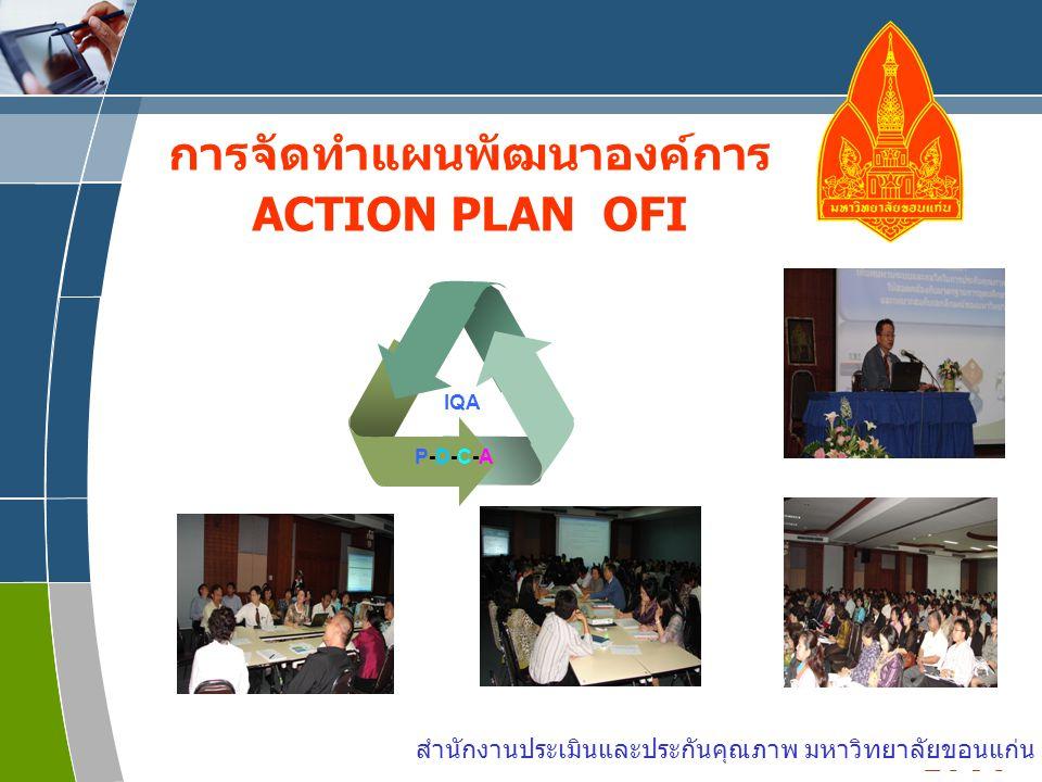 www.themegallery.com LOGO การจัดทำแผนพัฒนาองค์การ ACTION PLAN OFI IQA P-D-C-AP-D-C-A สำนักงานประเมินและประกันคุณภาพ มหาวิทยาลัยขอนแก่น