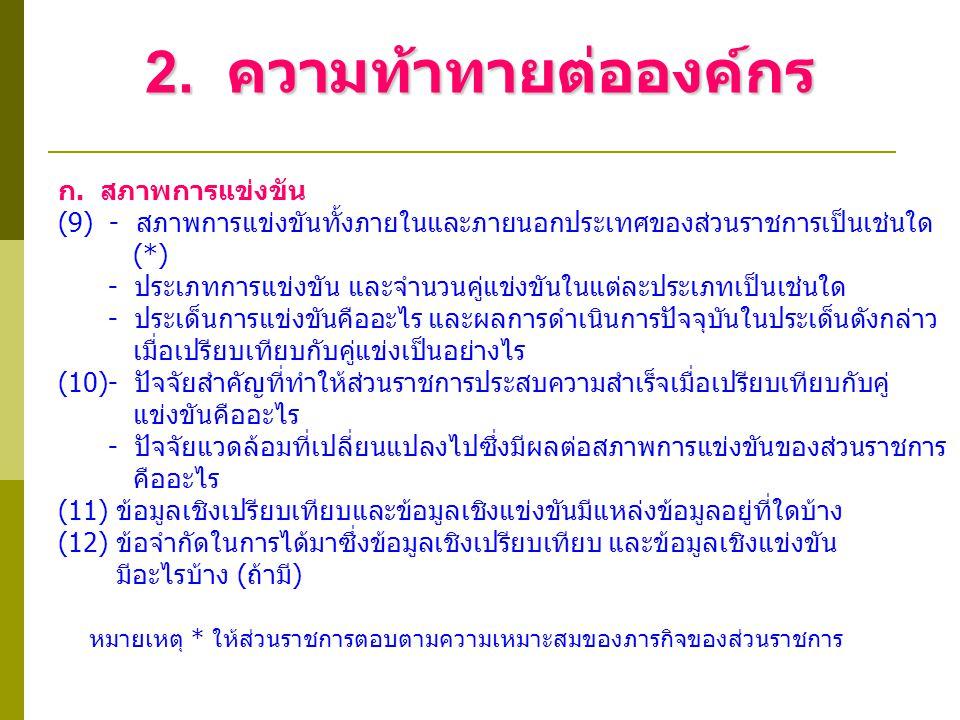 2. ความท้าทายต่อองค์กร ก. สภาพการแข่งขัน (9) - สภาพการแข่งขันทั้งภายในและภายนอกประเทศของส่วนราชการเป็นเช่นใด (*) - ประเภทการแข่งขัน และจำนวนคู่แข่งขัน