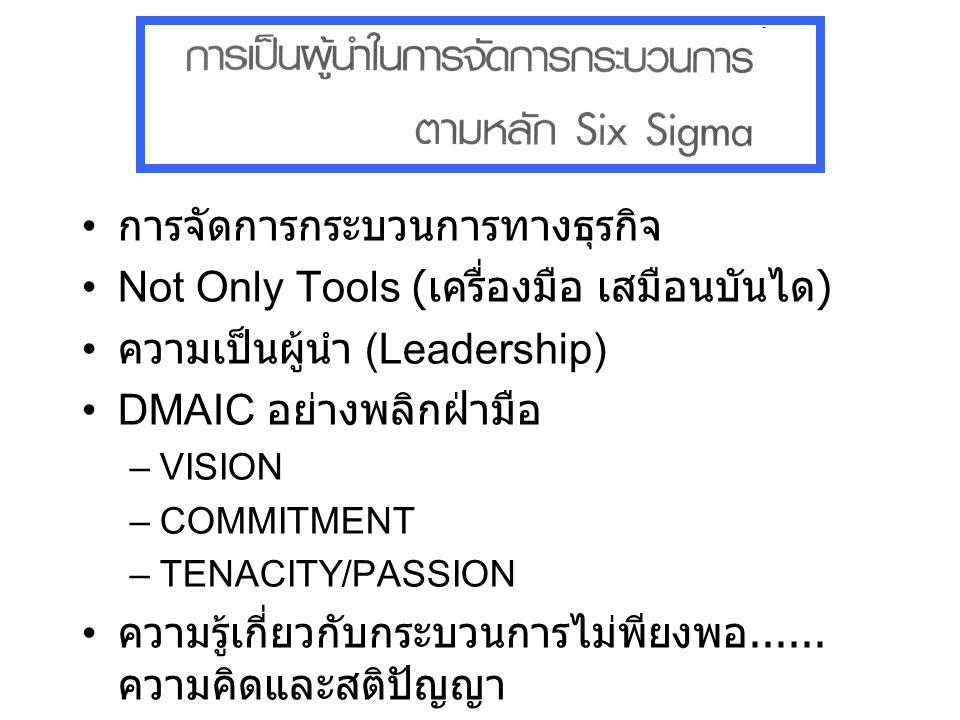 การจัดการกระบวนการทางธุรกิจ Not Only Tools ( เครื่องมือ เสมือนบันได ) ความเป็นผู้นำ (Leadership) DMAIC อย่างพลิกฝ่ามือ –VISION –COMMITMENT –TENACITY/P