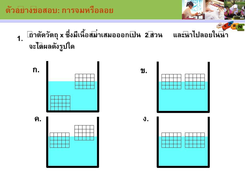 ถ้าตัดวัตถุ x ซึ่งมีสม่ำเสมอออกเป็น 2 ส่วน และนำไปลอยในน้ำ จะได้ผลดังรูปใด ถ้าตัดวัตถุ x ซึ่งมีเนื้อสม่ำเสมอออกเป็น 2 ส่วน และนำไปลอยในน้ำ จะได้ผลดังร