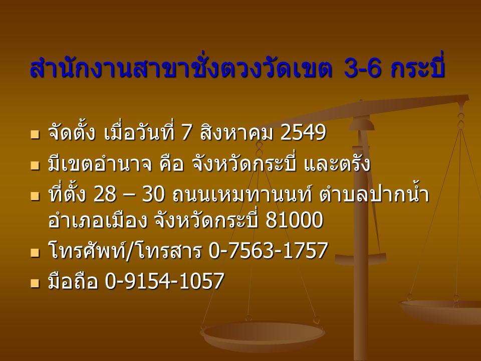 สำนักงานสาขาชั่งตวงวัดเขต 3-6 กระบี่ จัดตั้ง เมื่อวันที่ 7 สิงหาคม 2549 จัดตั้ง เมื่อวันที่ 7 สิงหาคม 2549 มีเขตอำนาจ คือ จังหวัดกระบี่ และตรัง มีเขตอ