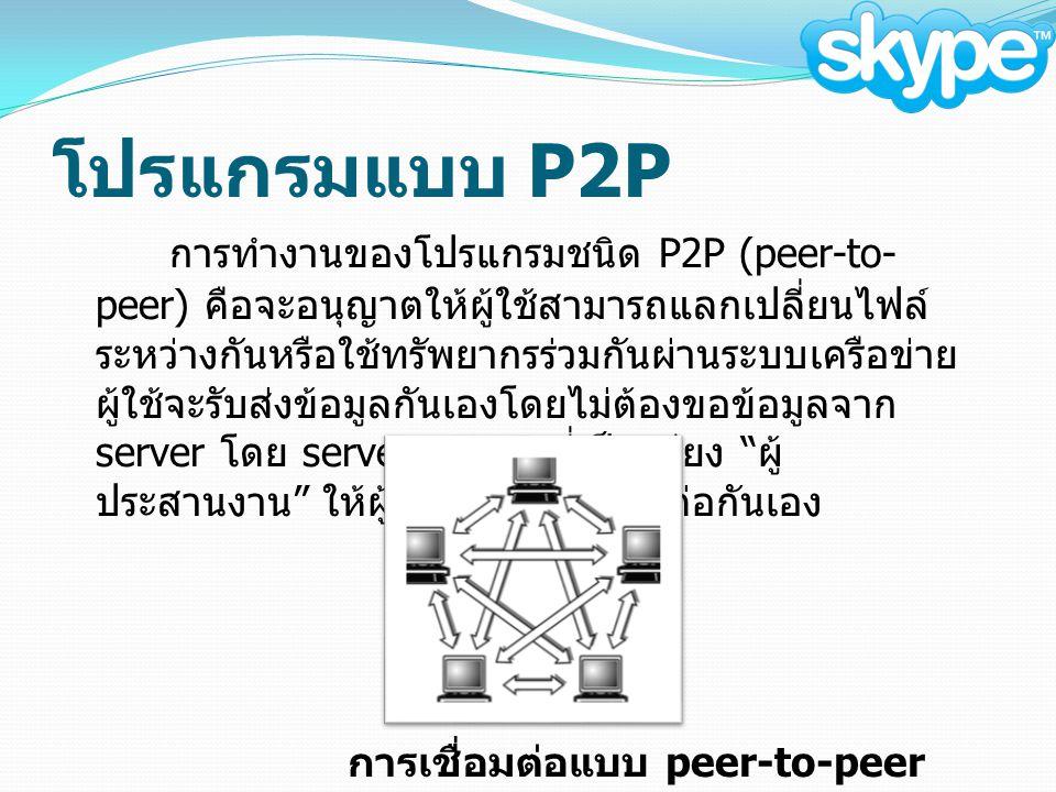 โปรแกรมแบบ P2P การทำงานของโปรแกรมชนิด P2P (peer-to- peer) คือจะอนุญาตให้ผู้ใช้สามารถแลกเปลี่ยนไฟล์ ระหว่างกันหรือใช้ทรัพยากรร่วมกันผ่านระบบเครือข่าย ผู้ใช้จะรับส่งข้อมูลกันเองโดยไม่ต้องขอข้อมูลจาก server โดย server ทำหน้าที่เป็นเพียง ผู้ ประสานงาน ให้ผู้ใช้แต่ละคนเชื่อมต่อกันเอง การเชื่อมต่อแบบ peer-to-peer