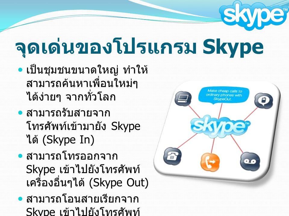 จุดเด่นของโปรแกรม Skype เป็นชุมชนขนาดใหญ่ ทำให้ สามารถค้นหาเพื่อนใหม่ๆ ได้ง่ายๆ จากทั่วโลก สามารถรับสายจาก โทรศัพท์เข้ามายัง Skype ได้ (Skype In) สามารถโทรออกจาก Skype เข้าไปยังโทรศัพท์ เครื่องอื่นๆได้ (Skype Out) สามารถโอนสายเรียกจาก Skype เข้าไปยังโทรศัพท์ พื้นฐานปลายทางได้ ( เฉพาะลูกค้าที่ใช้ Skype Out)