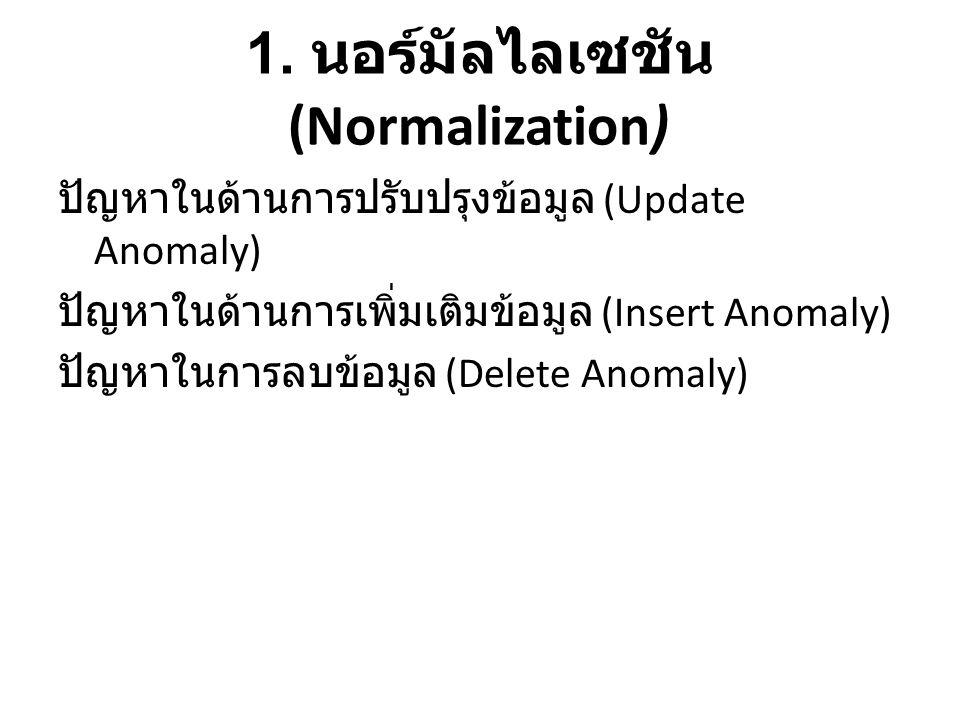 1. นอร์มัลไลเซชัน (Normalization) ปัญหาในด้านการปรับปรุงข้อมูล (Update Anomaly) ปัญหาในด้านการเพิ่มเติมข้อมูล (Insert Anomaly) ปัญหาในการลบข้อมูล (Del