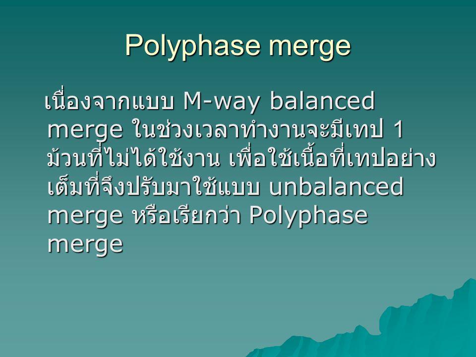 Polyphase merge เนื่องจากแบบ M-way balanced merge ในช่วงเวลาทำงานจะมีเทป 1 ม้วนที่ไม่ได้ใช้งาน เพื่อใช้เนื้อที่เทปอย่าง เต็มที่จึงปรับมาใช้แบบ unbalanced merge หรือเรียกว่า Polyphase merge เนื่องจากแบบ M-way balanced merge ในช่วงเวลาทำงานจะมีเทป 1 ม้วนที่ไม่ได้ใช้งาน เพื่อใช้เนื้อที่เทปอย่าง เต็มที่จึงปรับมาใช้แบบ unbalanced merge หรือเรียกว่า Polyphase merge