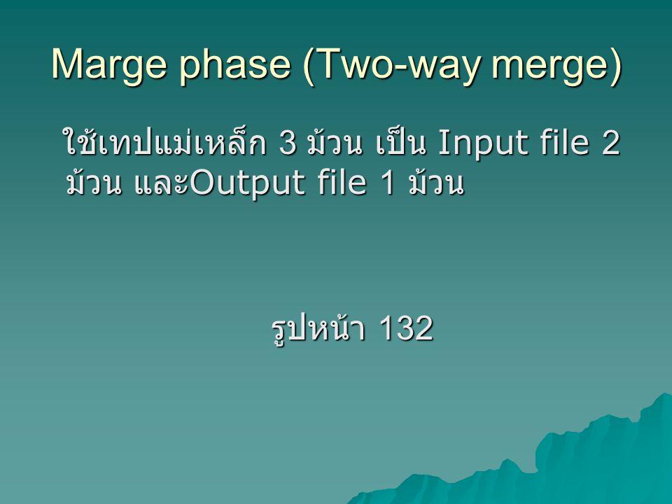 Marge phase (Two-way merge) ใช้เทปแม่เหล็ก 3 ม้วน เป็น Input file 2 ม้วน และ Output file 1 ม้วน ใช้เทปแม่เหล็ก 3 ม้วน เป็น Input file 2 ม้วน และ Output file 1 ม้วน รูปหน้า 132 รูปหน้า 132
