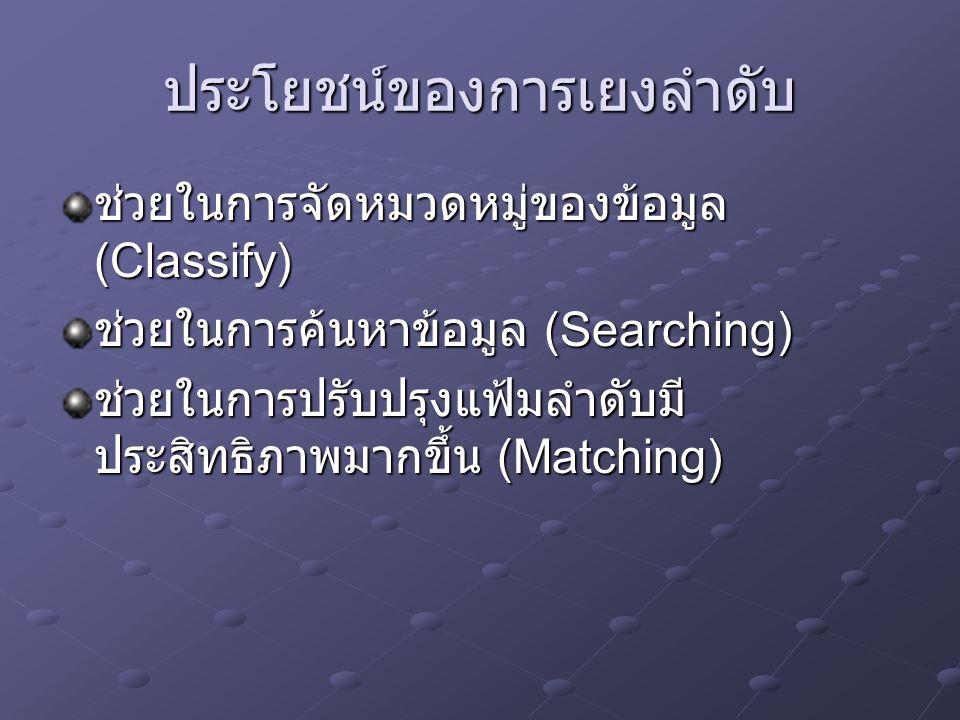 ประโยชน์ของการเยงลำดับ ช่วยในการจัดหมวดหมู่ของข้อมูล (Classify) ช่วยในการค้นหาข้อมูล (Searching) ช่วยในการปรับปรุงแฟ้มลำดับมี ประสิทธิภาพมากขึ้น (Matc