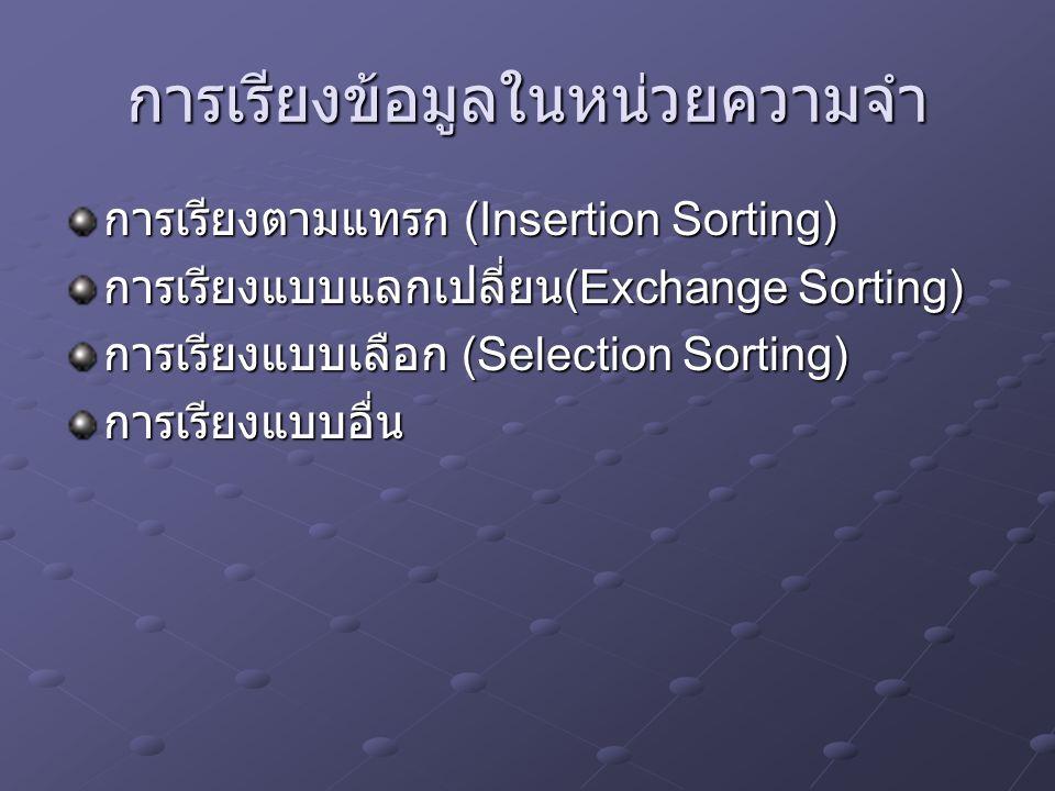 การเรียงข้อมูลในหน่วยความจำ การเรียงตามแทรก (Insertion Sorting) การเรียงแบบแลกเปลี่ยน (Exchange Sorting) การเรียงแบบเลือก (Selection Sorting) การเรียง