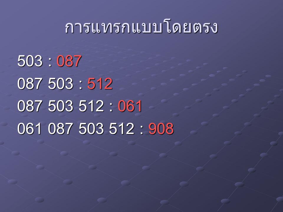 การแทรกแบบโดยตรง 503 : 087 087 503 : 512 087 503 512 : 061 061 087 503 512 : 908