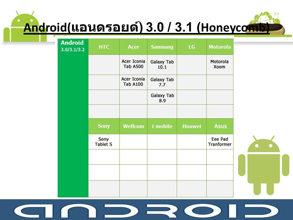Android( แอนดรอยด์ ) 3.0 / 3.1 (Honeycomb)