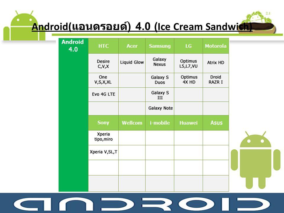 Android( แอนดรอยด์ ) 4.0 (Ice Cream Sandwich)