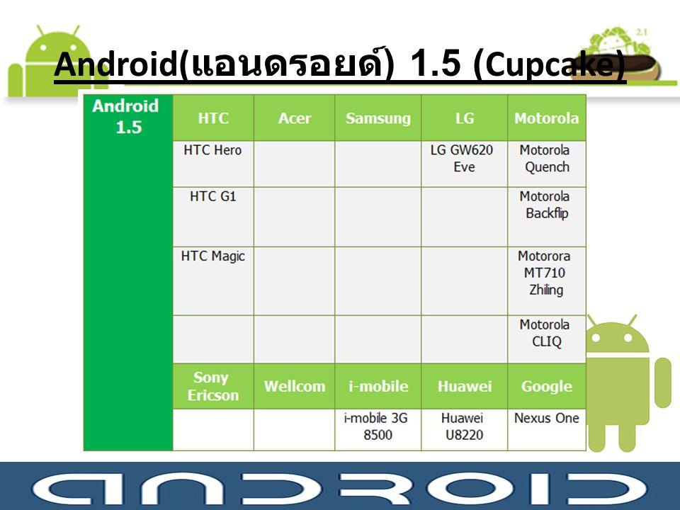 Android( แอนดรอยด์ ) 1.5 (Cupcake)