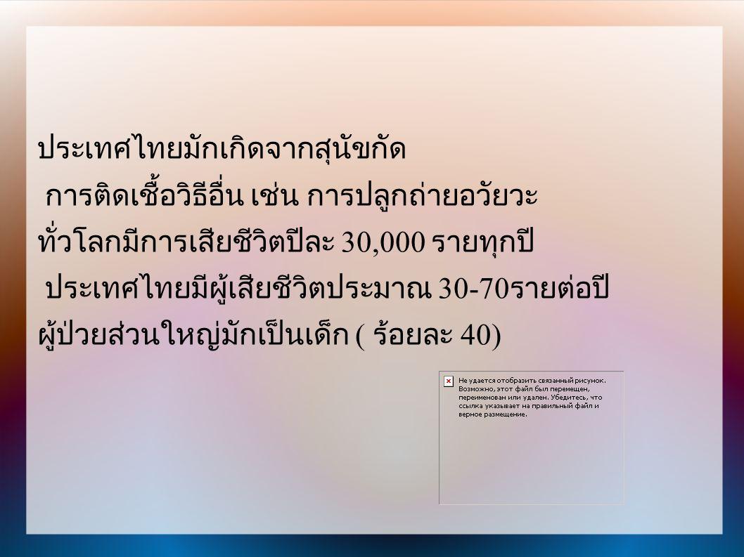 ประเทศไทยมักเกิดจากสุนัขกัด การติดเชื้อวิธีอื่น เช่น การปลูกถ่ายอวัยวะ ทั่วโลกมีการเสียชีวิตปีละ 30,000 รายทุกปี ประเทศไทยมีผู้เสียชีวิตประมาณ 30-70 ร