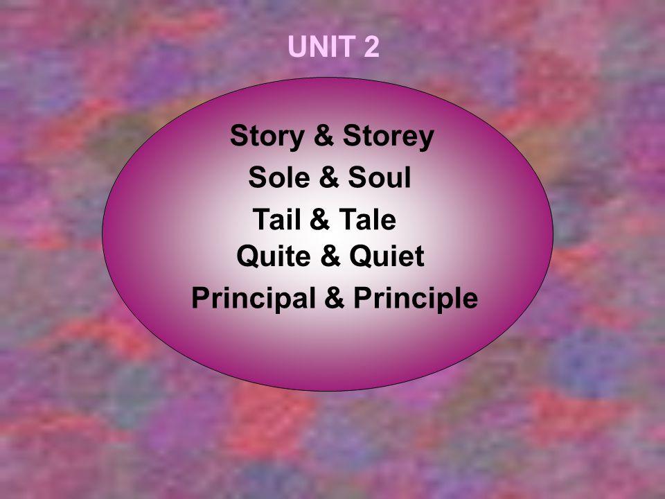 UNIT 2 Story & Storey Sole & Soul Tail & Tale Quite & Quiet Principal & Principle