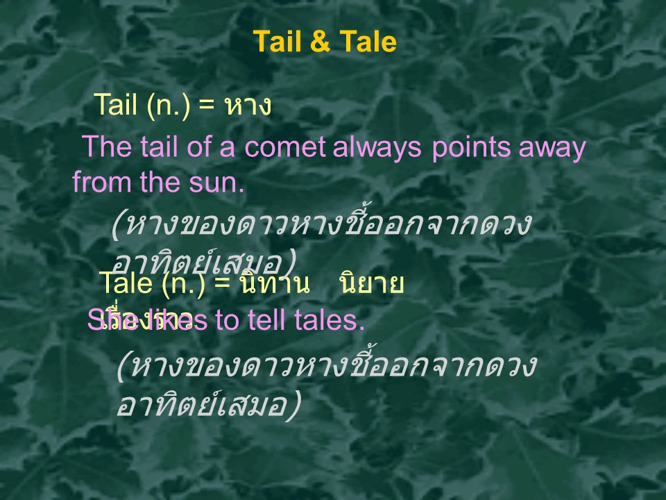 Tail & Tale Tail (n.) = หาง Tale (n.) = นิทาน นิยาย เรื่องราว The tail of a comet always points away from the sun.