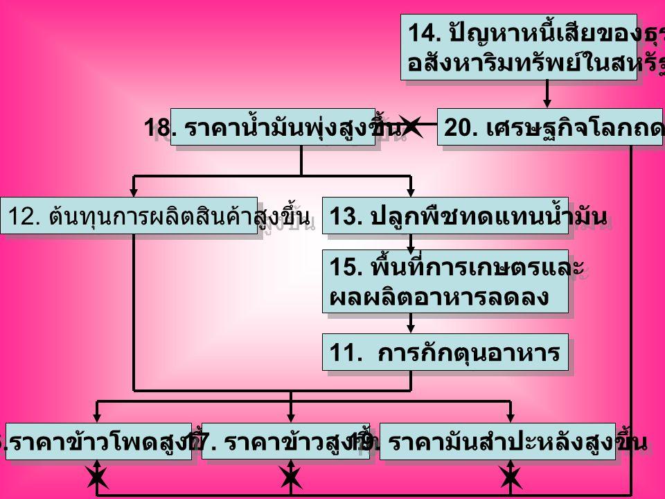 11. การกักตุนอาหาร 12. ต้นทุนการผลิตสินค้าสูงขึ้น 13.