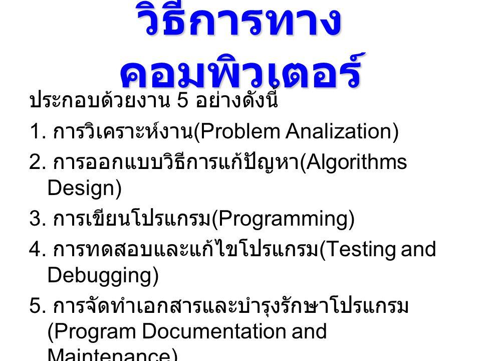 วิธีการทาง คอมพิวเตอร์ ประกอบด้วยงาน 5 อย่างดังนี้ 1. การวิเคราะห์งาน (Problem Analization) 2. การออกแบบวิธีการแก้ปัญหา (Algorithms Design) 3. การเขีย