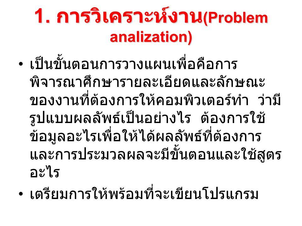 1. การวิเคราะห์งาน (Problem analization) เป็นขั้นตอนการวางแผนเพื่อคือการ พิจารณาศึกษารายละเอียดและลักษณะ ของงานที่ต้องการให้คอมพิวเตอร์ทำ ว่ามี รูปแบบ