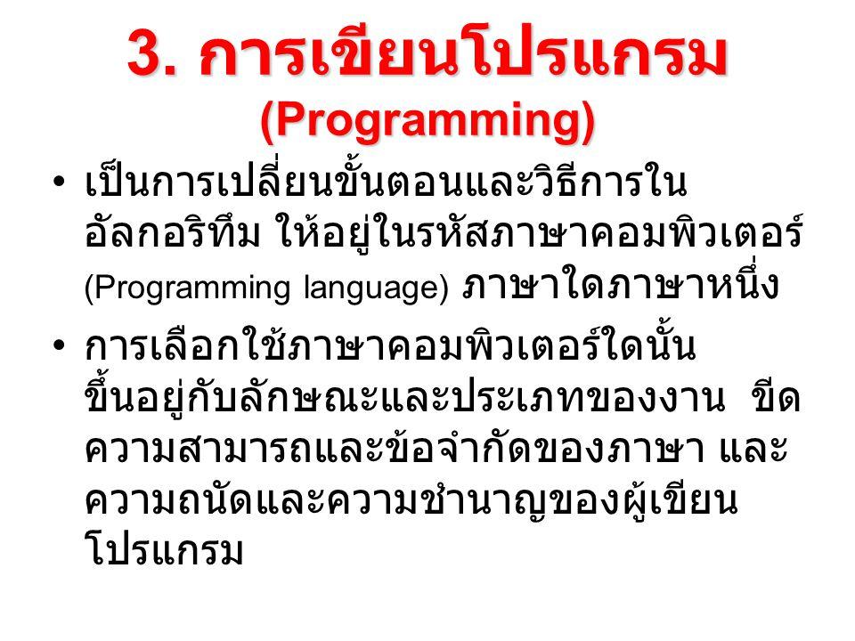 3. การเขียนโปรแกรม (Programming) เป็นการเปลี่ยนขั้นตอนและวิธีการใน อัลกอริทึม ให้อยู่ในรหัสภาษาคอมพิวเตอร์ (Programming language) ภาษาใดภาษาหนึ่ง การเ