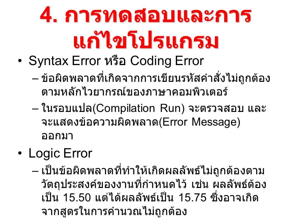 4. การทดสอบและการ แก้ไขโปรแกรม Syntax Error หรือ Coding Error – ข้อผิดพลาดที่เกิดจากการเขียนรหัสคำสั่งไม่ถูกต้อง ตามหลักไวยากรณ์ของภาษาคอมพิวเตอร์ – ใ