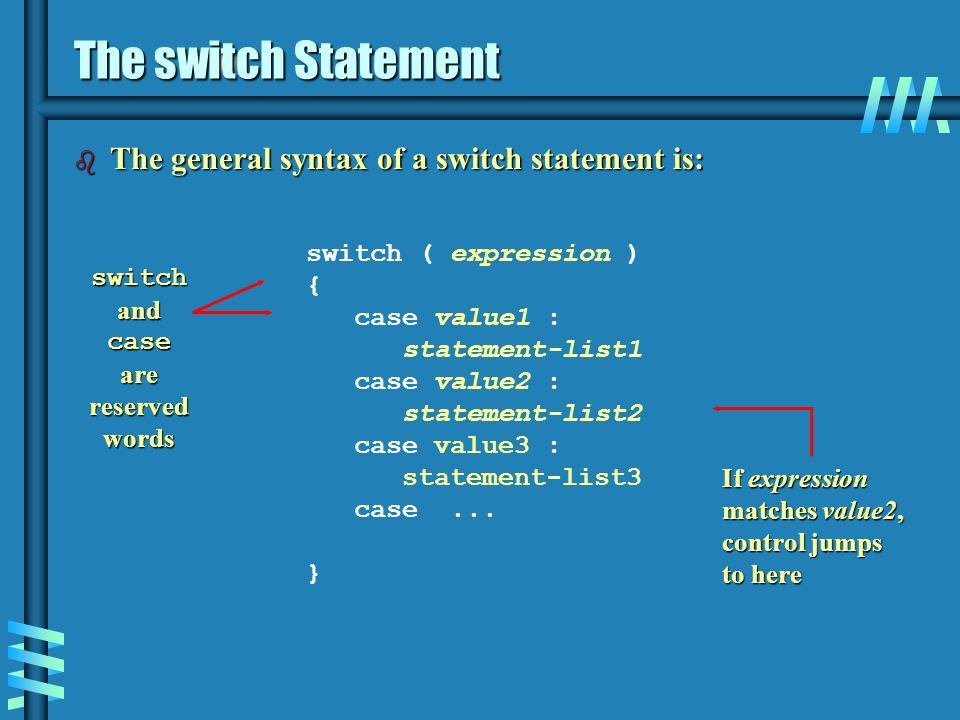 The switch Statement b The general syntax of a switch statement is: switch ( expression ) { case value1 : statement-list1 case value2 : statement-list