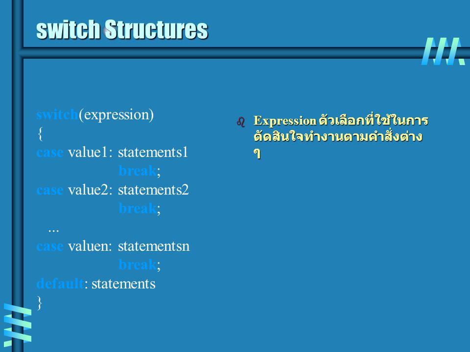 switch Structures b Expression ตัวเลือกที่ใช้ในการ ตัดสินใจทำงานตามคำสั่งต่าง ๆ switch(expression) { case value1: statements1 break; case value2: stat