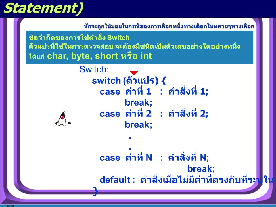 คำสั่ง switch (The switch Statement) มักจะถูกใช้บ่อยในกรณีของการเลือกหนึ่งทางเลือกในหลายๆทางเลือก มักจะถูกใช้บ่อยในกรณีของการเลือกหนึ่งทางเลือกในหลายๆทางเลือก Switch: switch ( ตัวแปร ) { case ค่าที่ 1 : คำสั่งที่ 1; break; case ค่าที่ 2 : คำสั่งที่ 2; break;.
