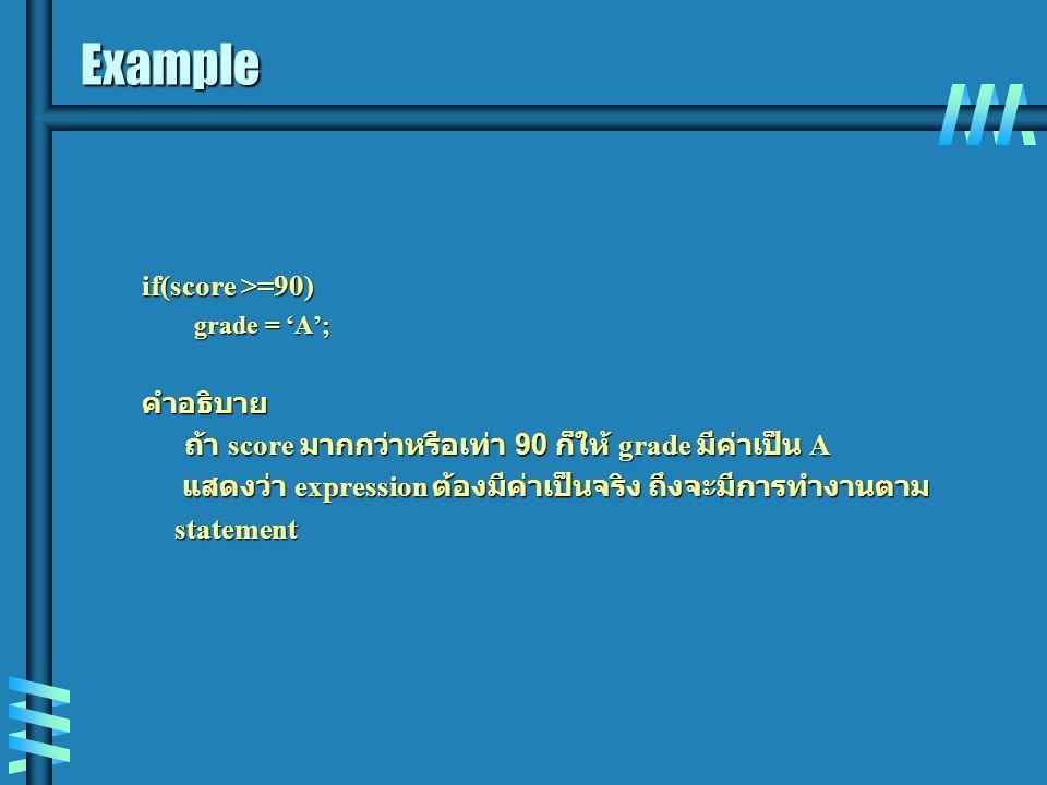 Example if(score >=90) grade = 'A'; คำอธิบาย ถ้า score มากกว่าหรือเท่า 90 ก็ให้ grade มีค่าเป็น A ถ้า score มากกว่าหรือเท่า 90 ก็ให้ grade มีค่าเป็น A แสดงว่า expression ต้องมีค่าเป็นจริง ถึงจะมีการทำงานตาม แสดงว่า expression ต้องมีค่าเป็นจริง ถึงจะมีการทำงานตาม statement statement